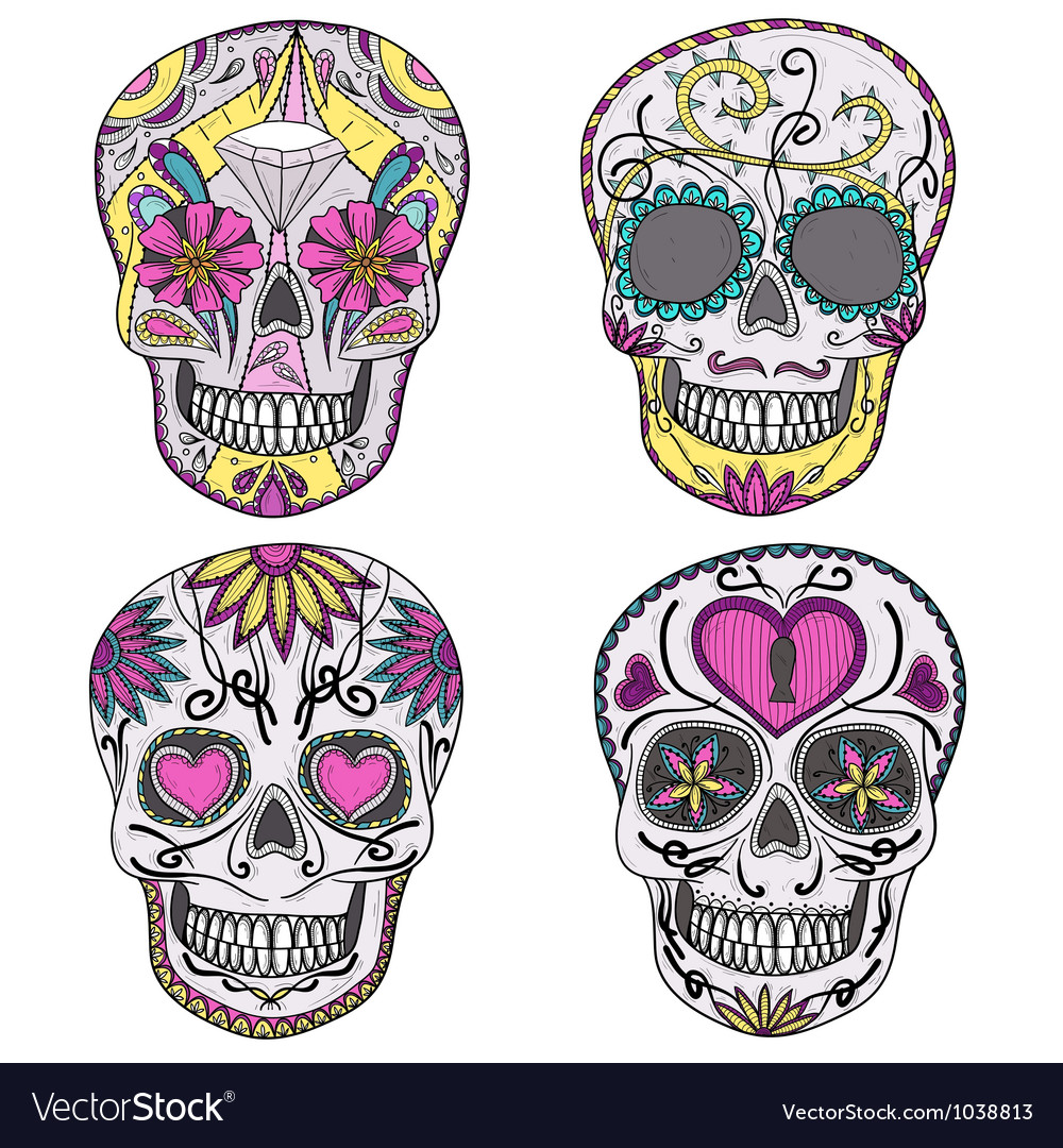 Mexican sugar skulls with floral pattern vector | Price: 1 Credit (USD $1)