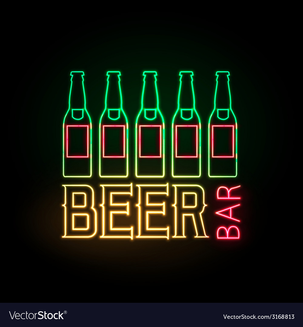 Neon sign beer bar vector | Price: 1 Credit (USD $1)