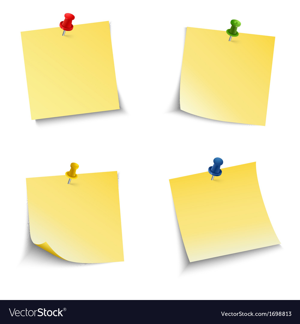 Note paper with push pin vector | Price: 1 Credit (USD $1)