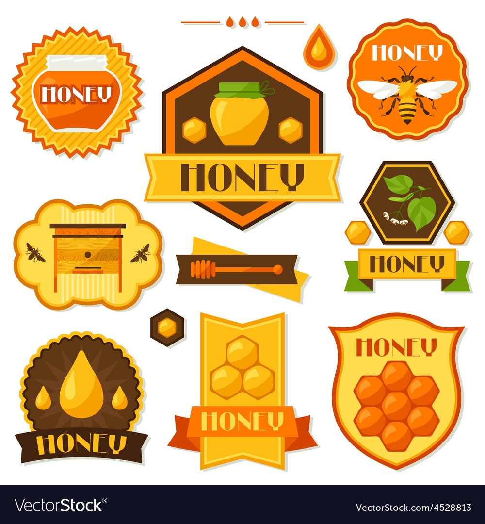 Set of honey and bee labels badges emblems vector   Price: 1 Credit (USD $1)