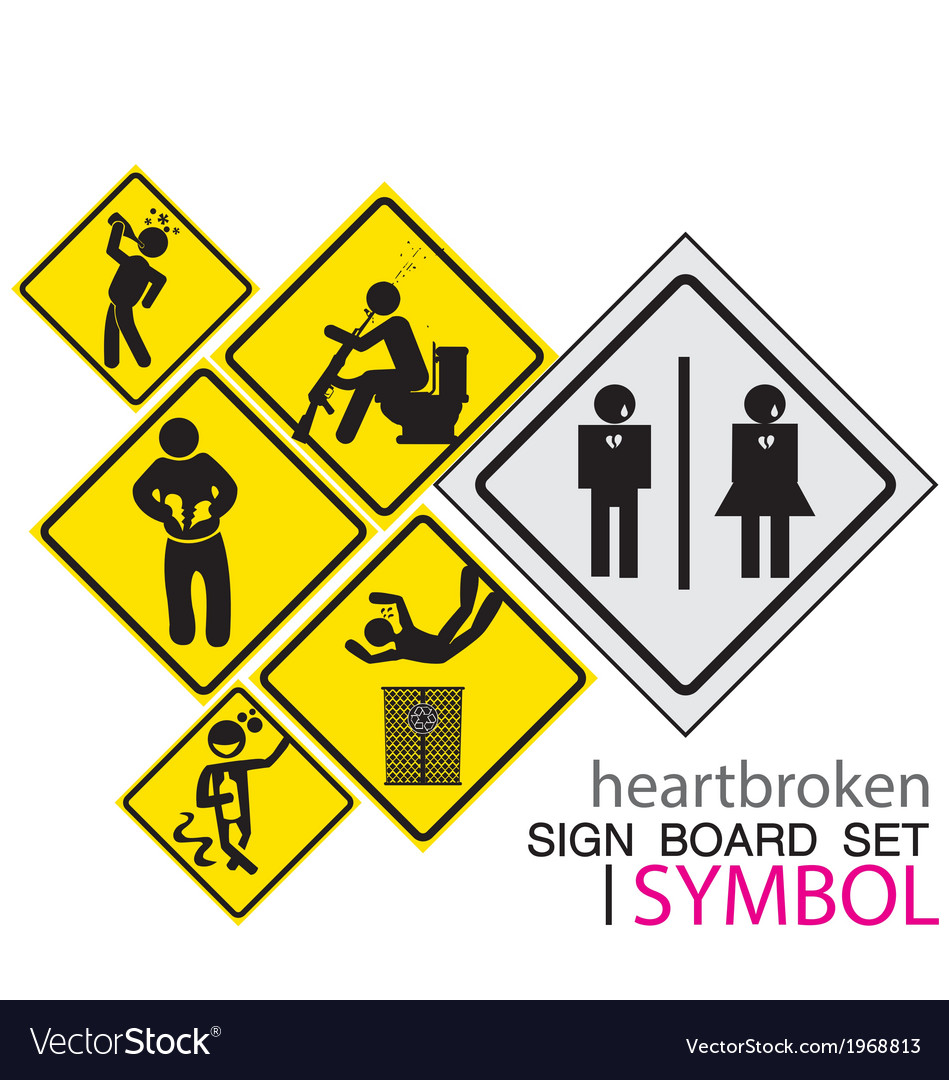 Sign board-heartbroken sig board concept icon set vector | Price: 1 Credit (USD $1)