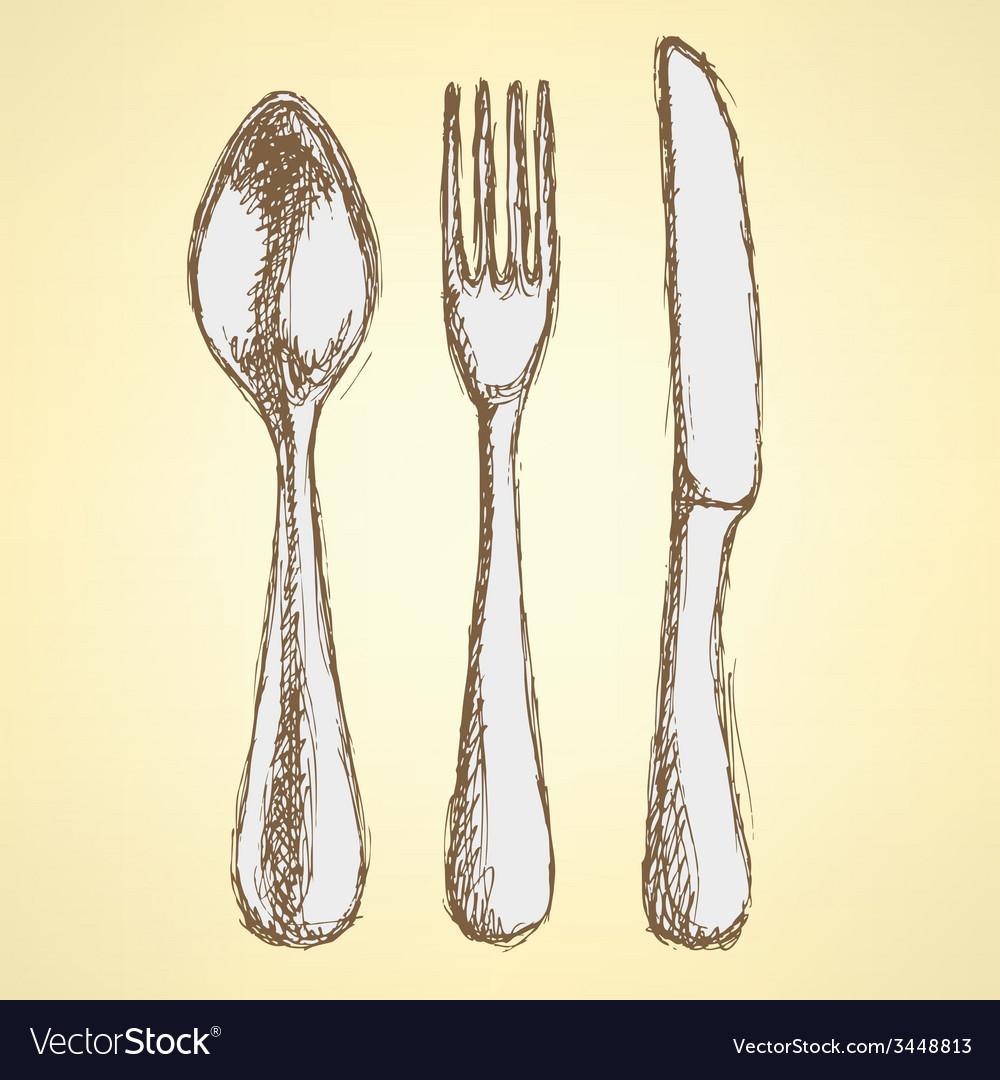 Sketch utencil set in vintage style vector | Price: 1 Credit (USD $1)