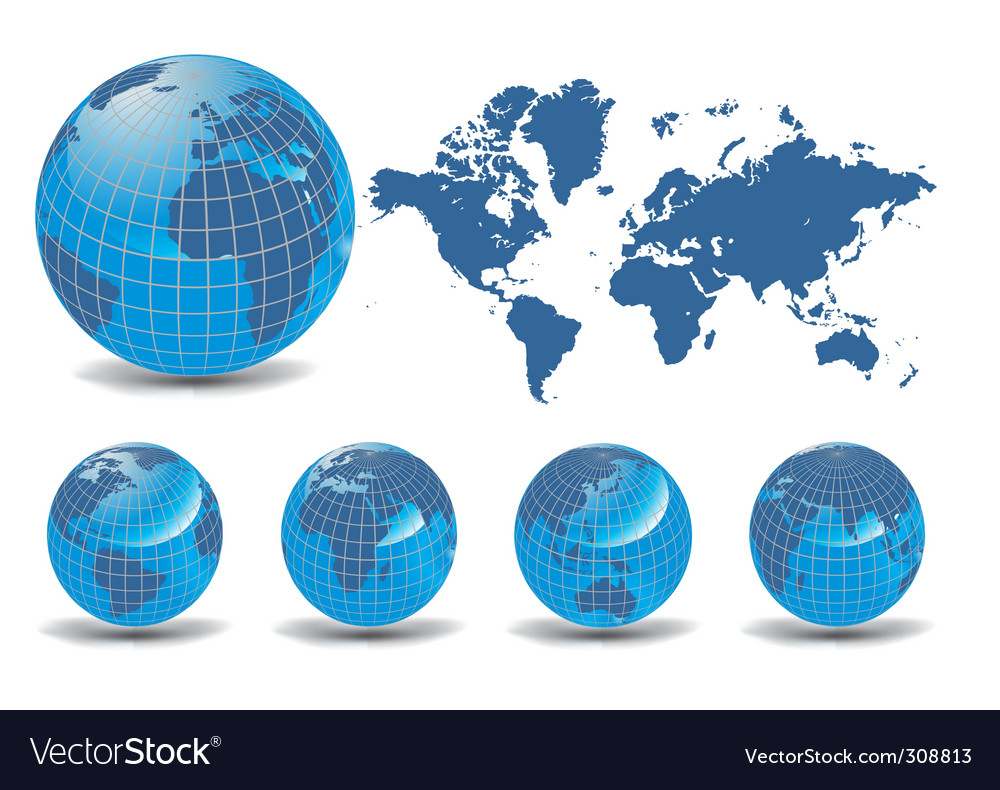 World map set vector | Price: 1 Credit (USD $1)