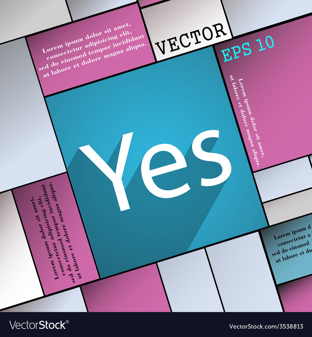Yes icon symbol flat modern web design with long vector | Price: 1 Credit (USD $1)