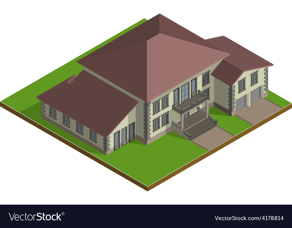 Cottage estate isometric vector | Price: 1 Credit (USD $1)