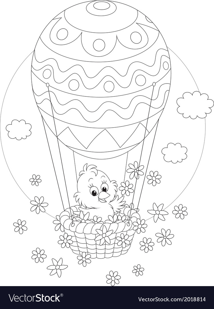 Easter chick flying in a balloon vector
