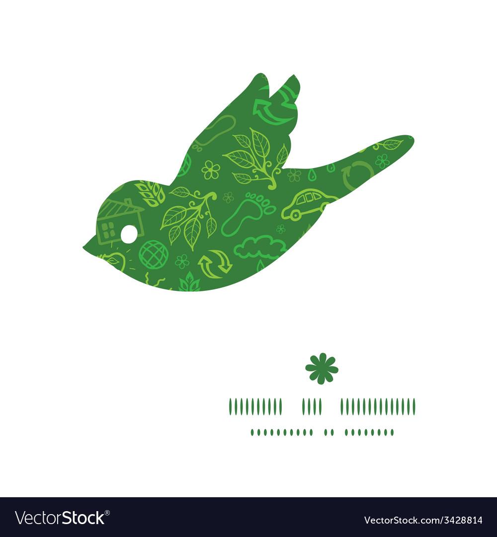 Ecology symbols bird silhouette pattern frame vector | Price: 1 Credit (USD $1)