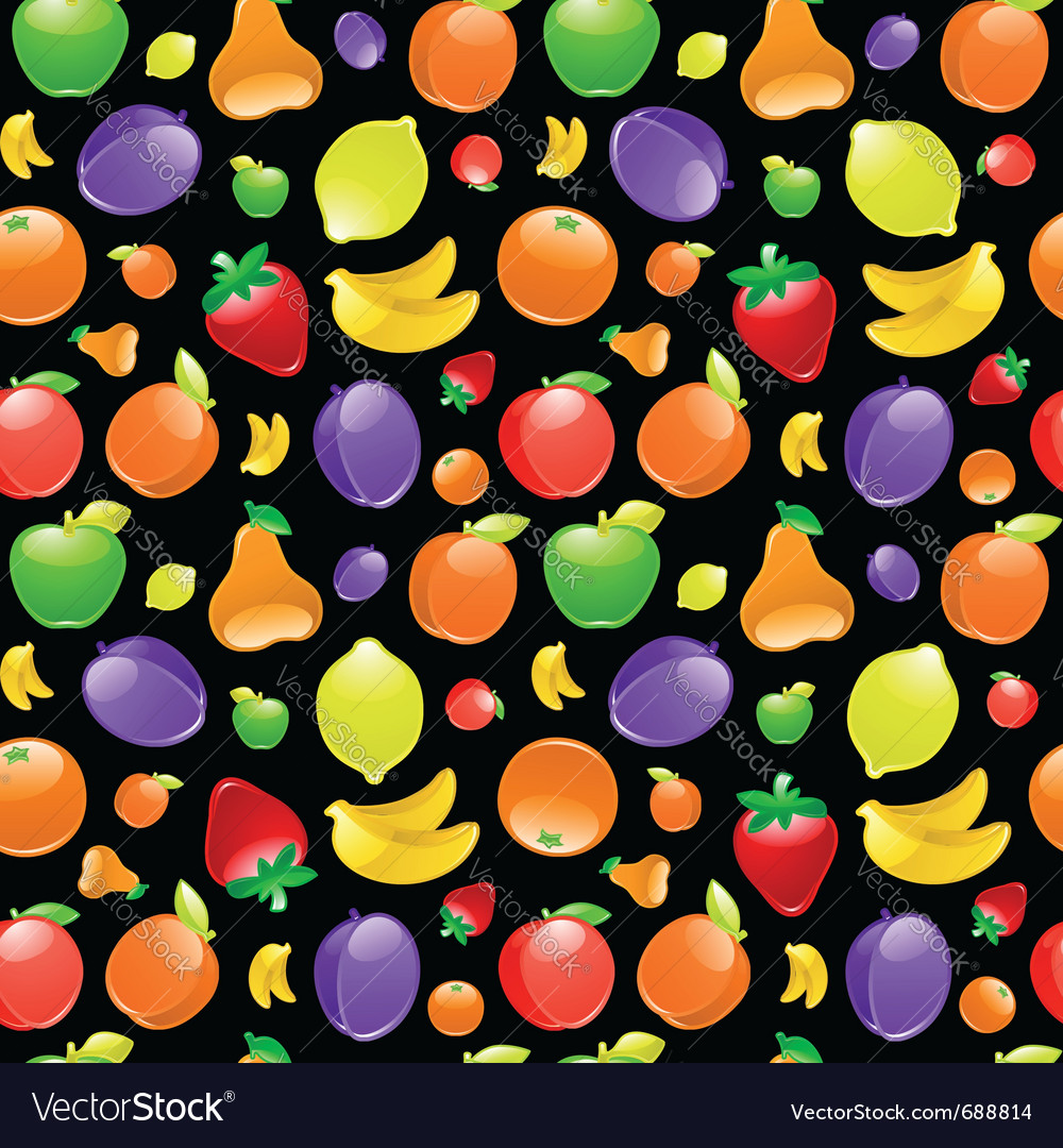 Fruit on black background vector | Price: 1 Credit (USD $1)