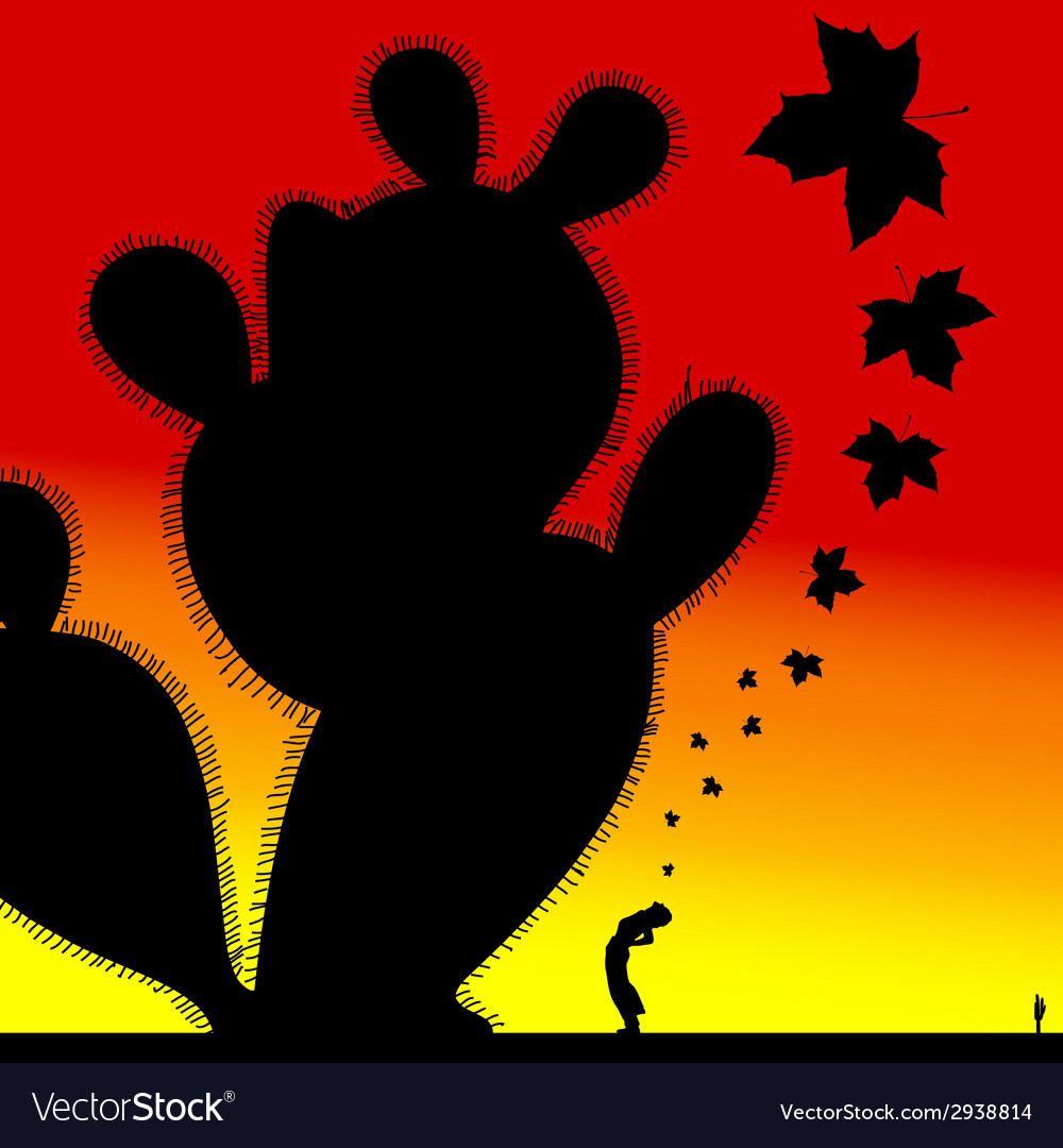 Girl under a large cactus vector | Price: 1 Credit (USD $1)
