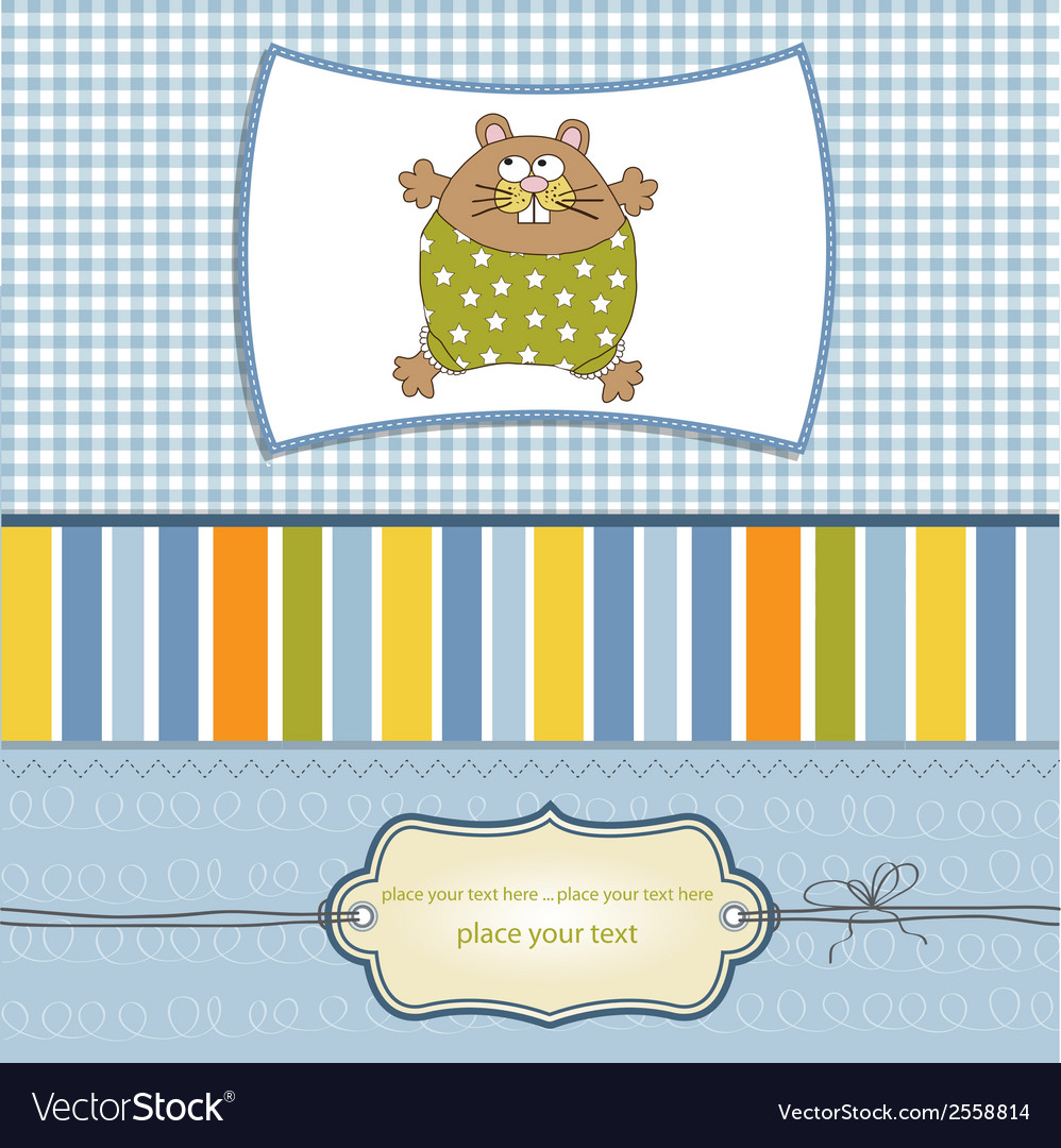 Greeting card with cute little rat vector | Price: 1 Credit (USD $1)