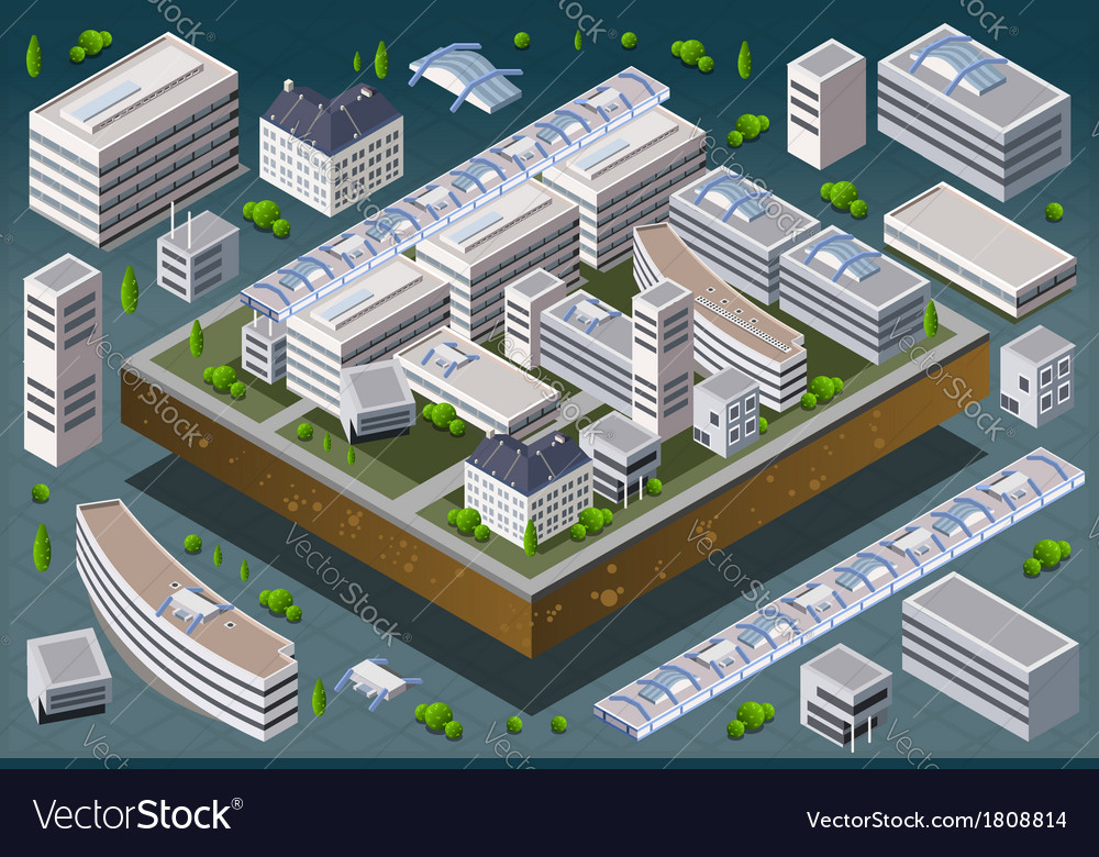 Isometric european building vector | Price: 1 Credit (USD $1)