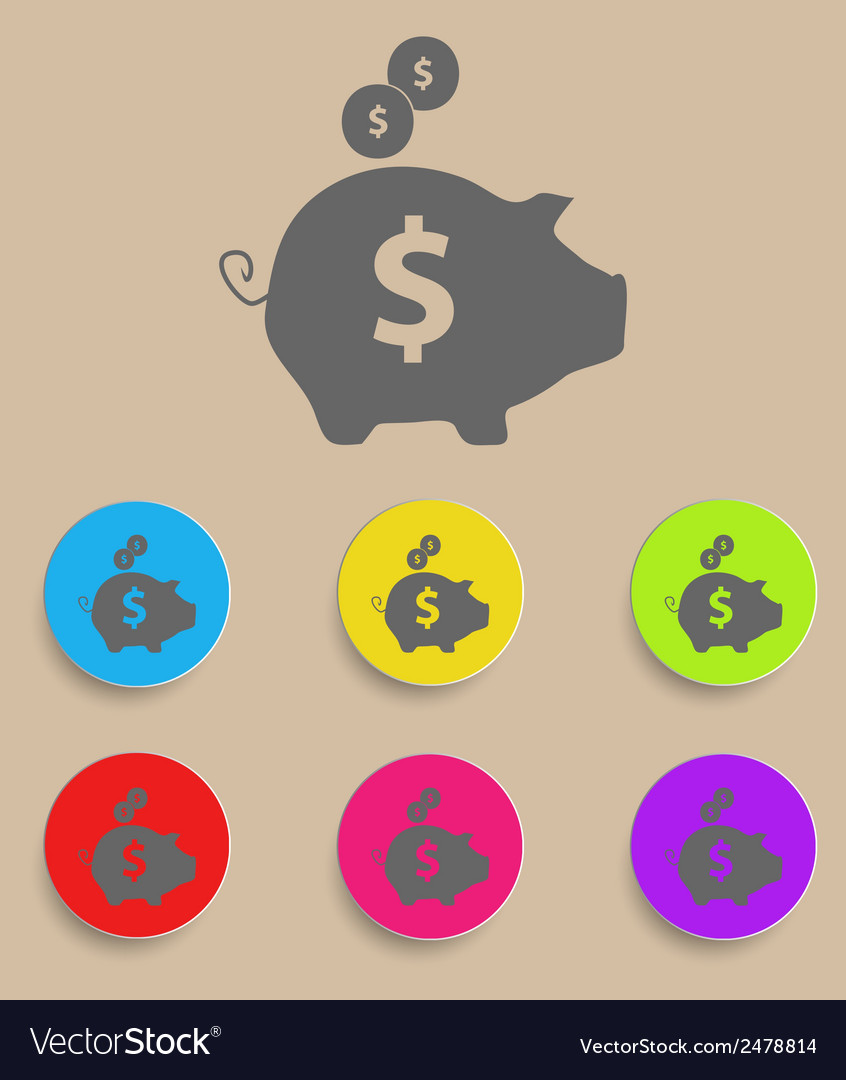 Piggy bank - saving money icon with color vector | Price: 1 Credit (USD $1)