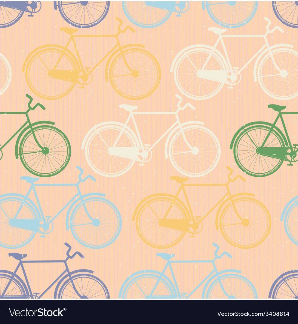 Seamless pattern of colorful bicycles flat style vector   Price: 1 Credit (USD $1)