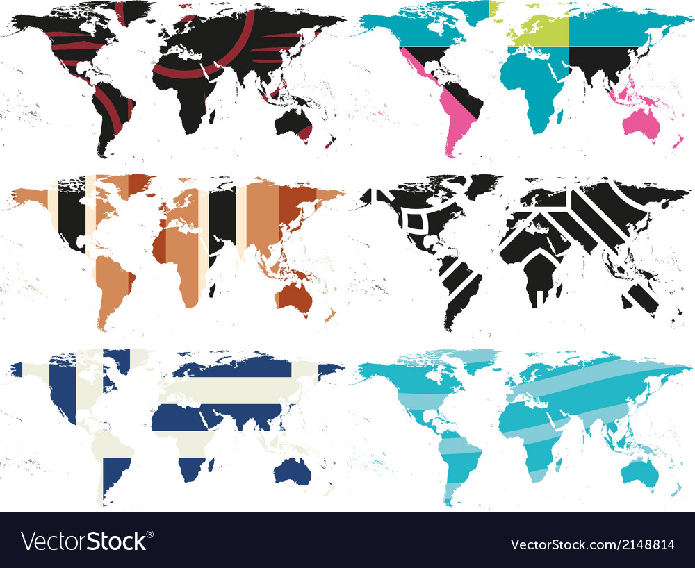 Set of abstract world maps vector | Price: 1 Credit (USD $1)