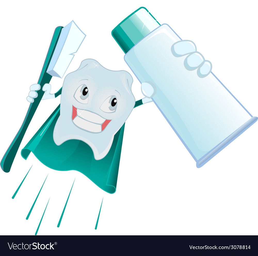 Tooth superman holds toothpaste and toothbrush vector | Price: 1 Credit (USD $1)
