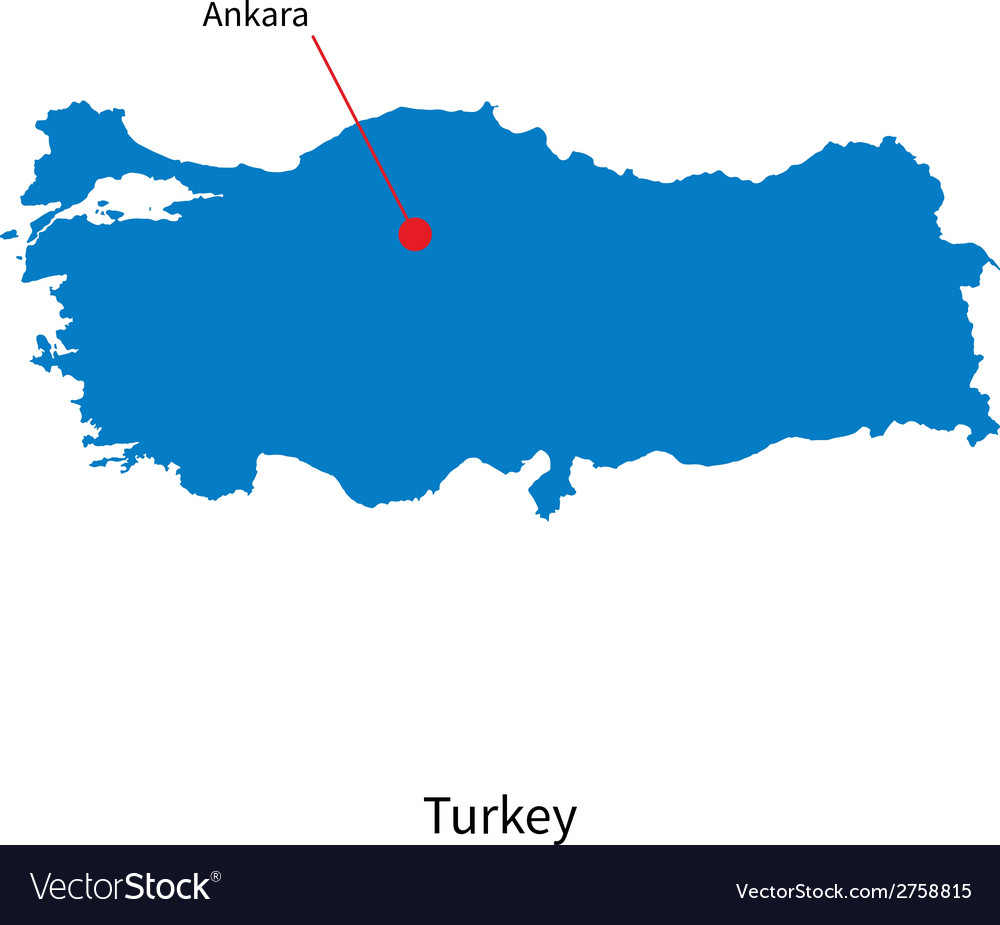 Detailed map of turkey and capital city ankara vector | Price: 1 Credit (USD $1)