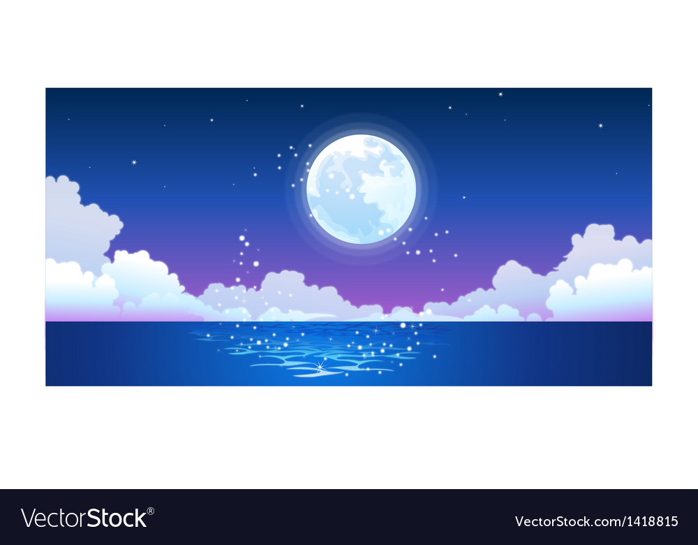 Full moon reflecting on ocean vector | Price: 1 Credit (USD $1)