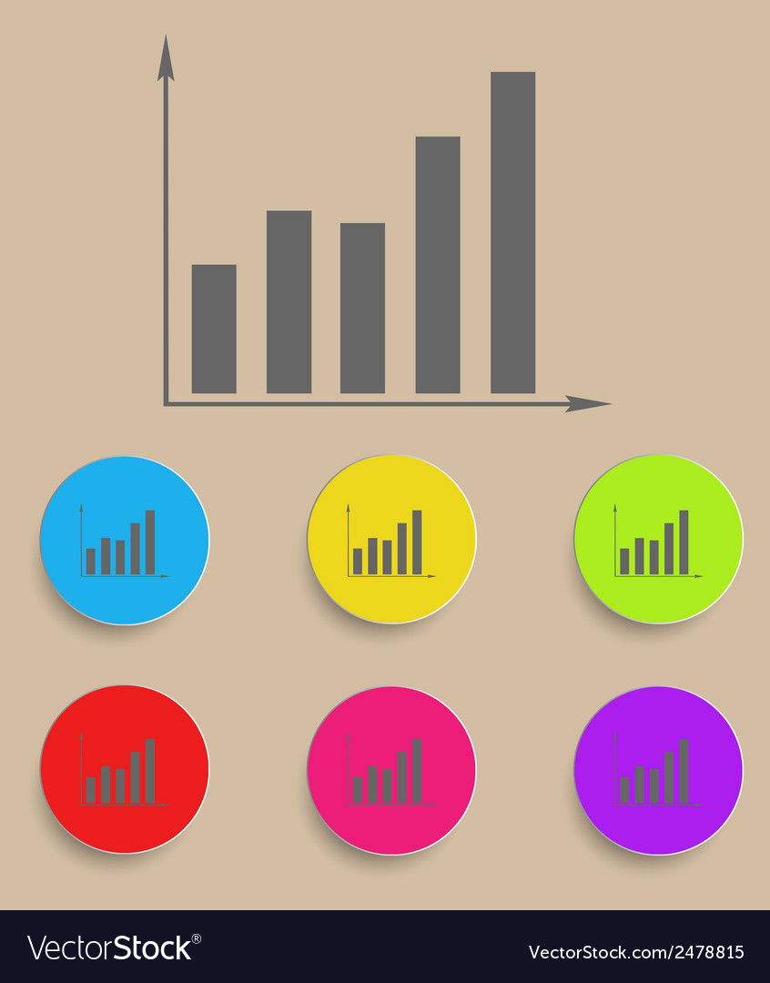 Graph icon with color variations vector | Price: 1 Credit (USD $1)