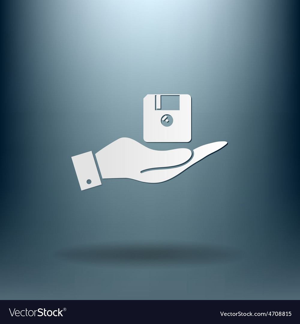 Hand holding a floppy diskette symbol store vector | Price: 1 Credit (USD $1)