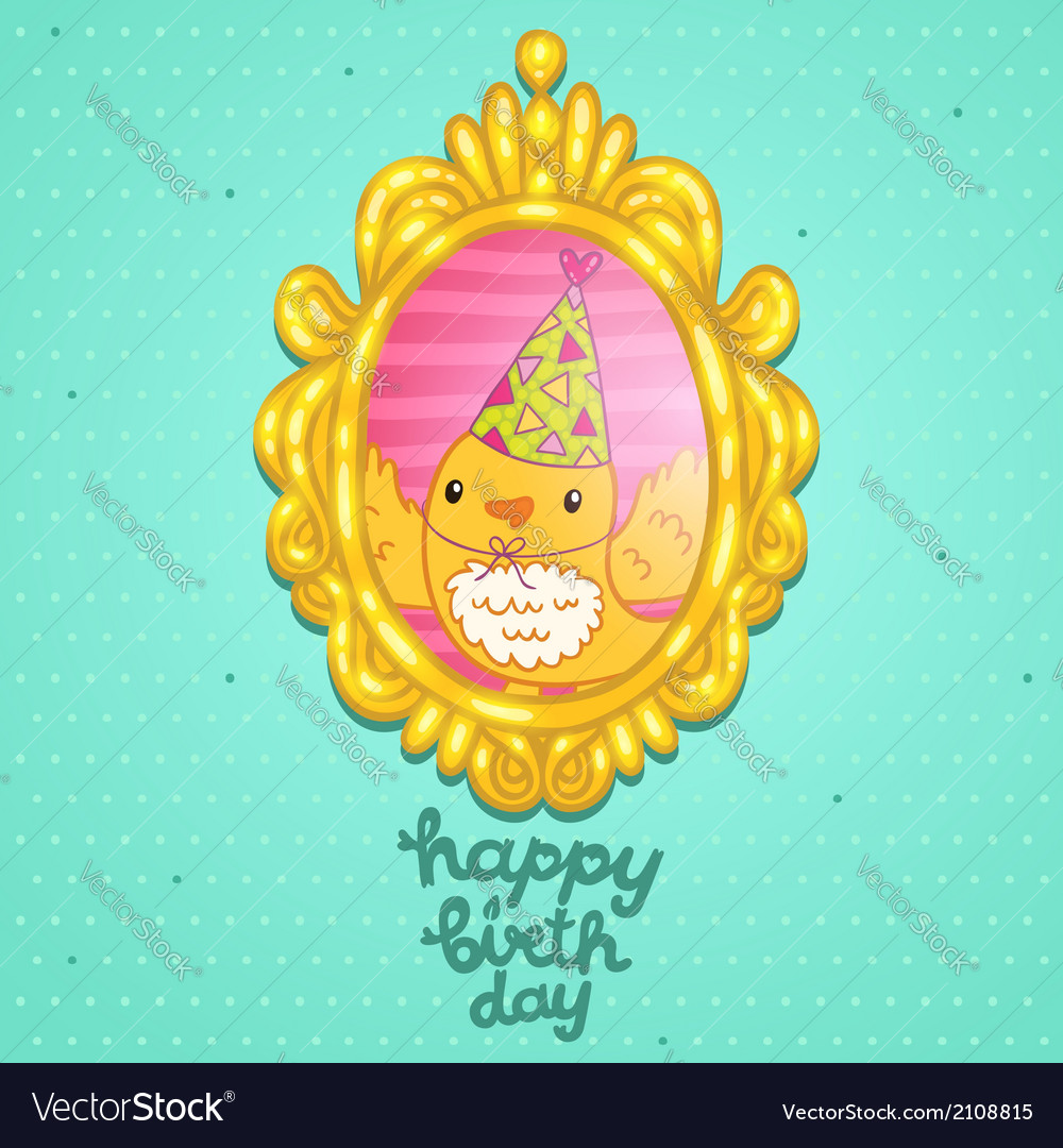 Happy birthday card with a bird in frame vector | Price: 1 Credit (USD $1)