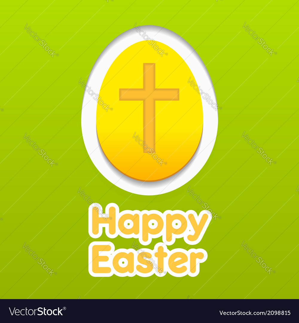 Happy easter yellow eggs card with cross symbol vector | Price: 1 Credit (USD $1)