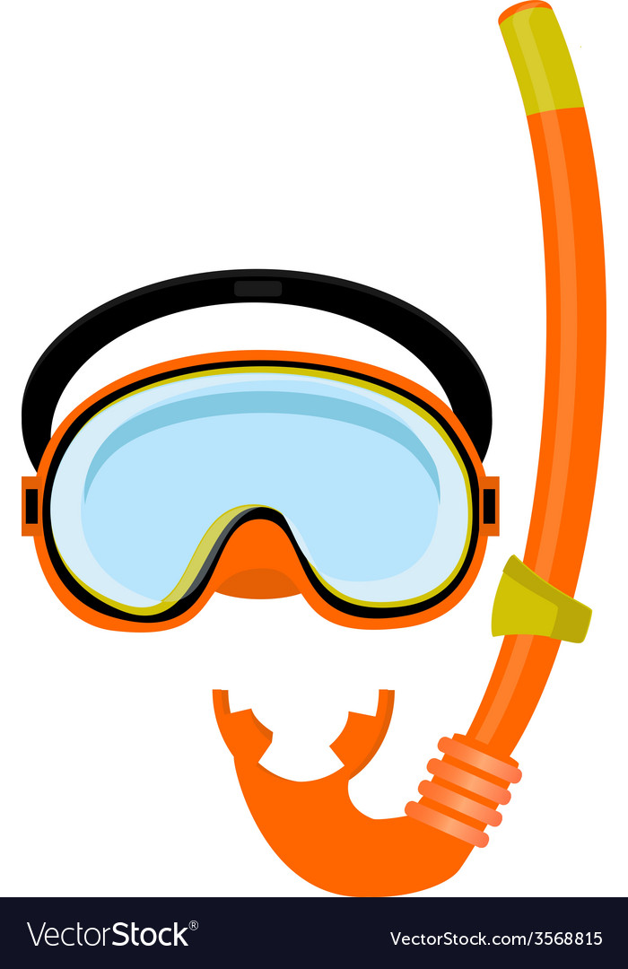 Orange diving mask and tube vector | Price: 1 Credit (USD $1)