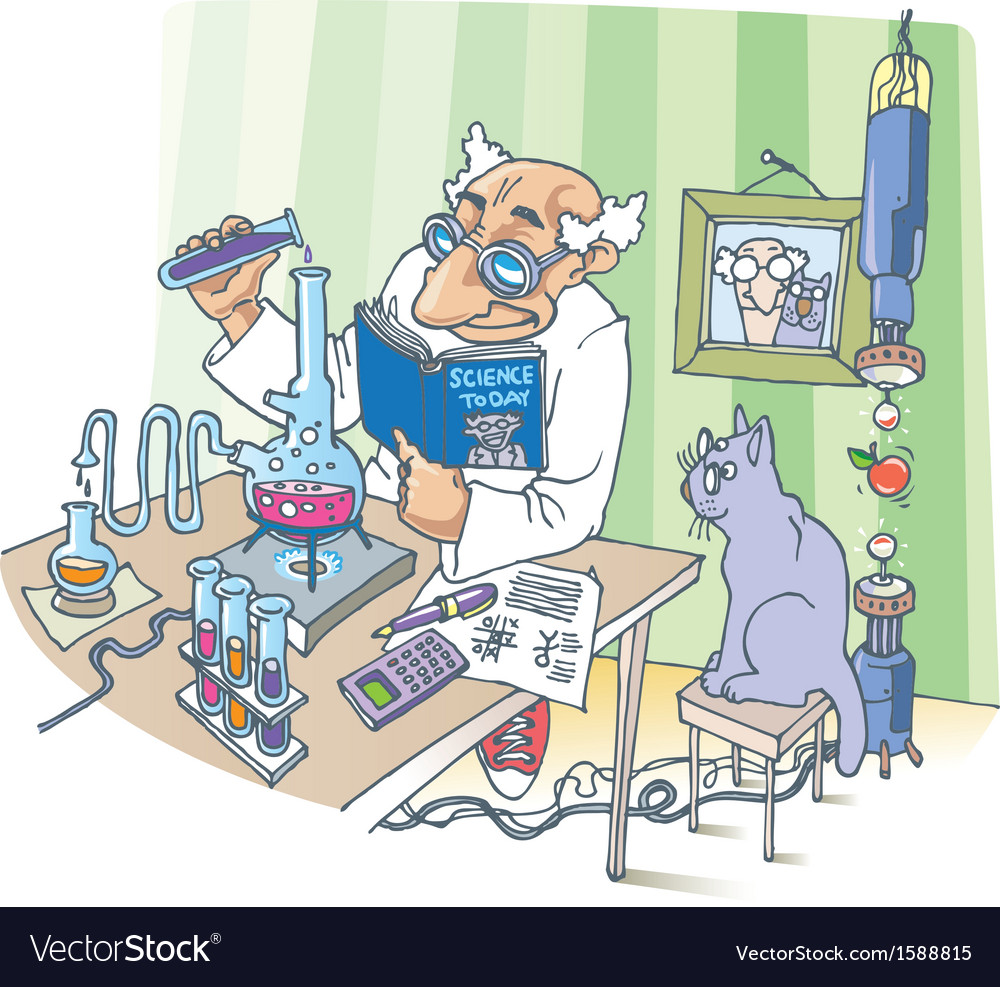 The scientist and his cat vector | Price: 3 Credit (USD $3)