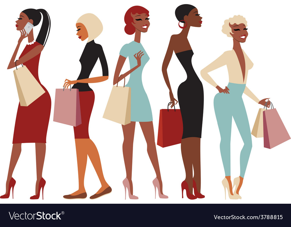 Shopping girls characters vector | Price: 1 Credit (USD $1)