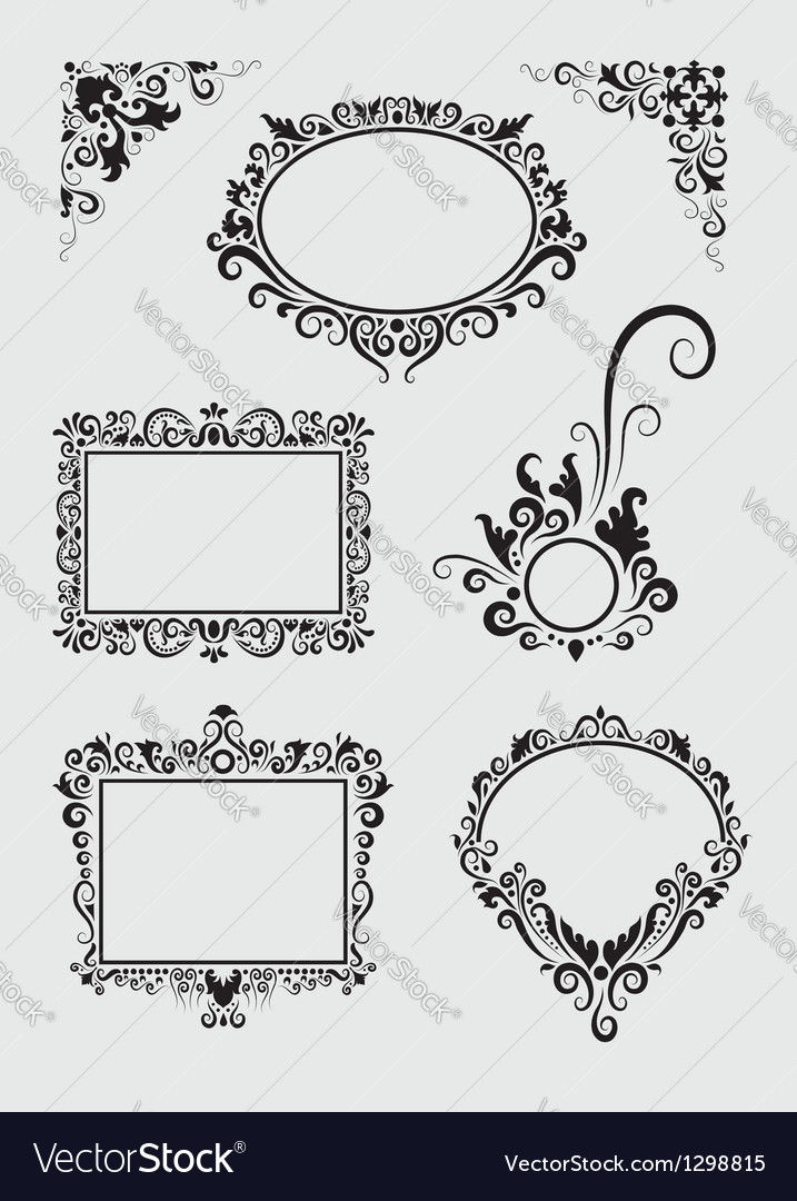 Swirl ornaments floral frame and corner vector | Price: 1 Credit (USD $1)