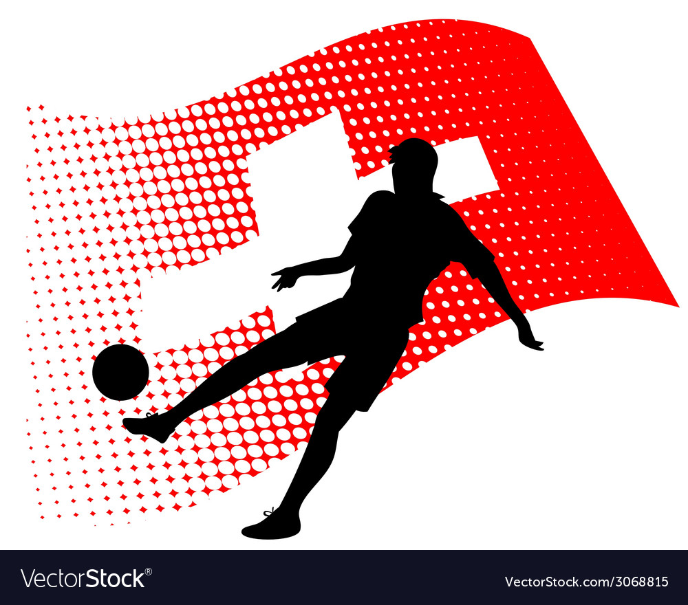 Switzerland soccer player against national flag vector | Price: 1 Credit (USD $1)
