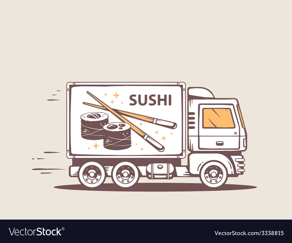 Truck free and fast delivering sushi to c vector | Price: 1 Credit (USD $1)