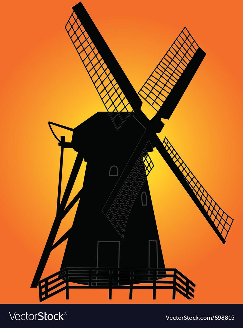 Windmill silhouette vector | Price: 1 Credit (USD $1)
