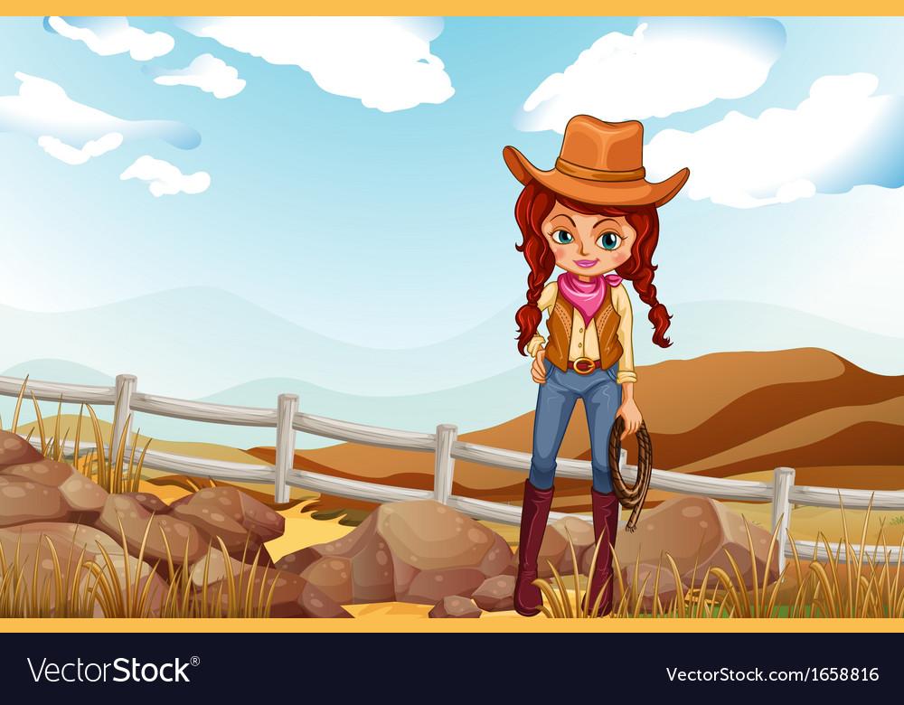 A pretty cowgirl near the rocks vector | Price: 3 Credit (USD $3)