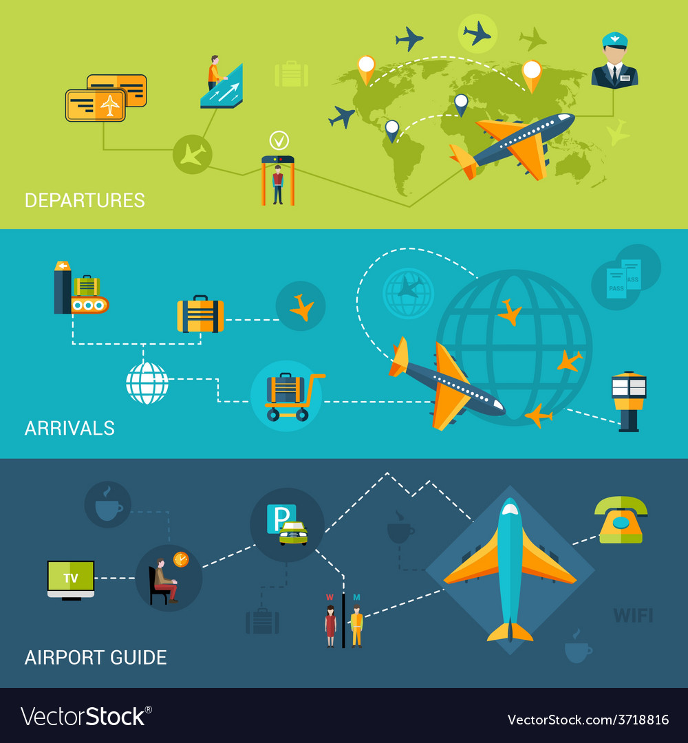 Airport banners set vector | Price: 1 Credit (USD $1)