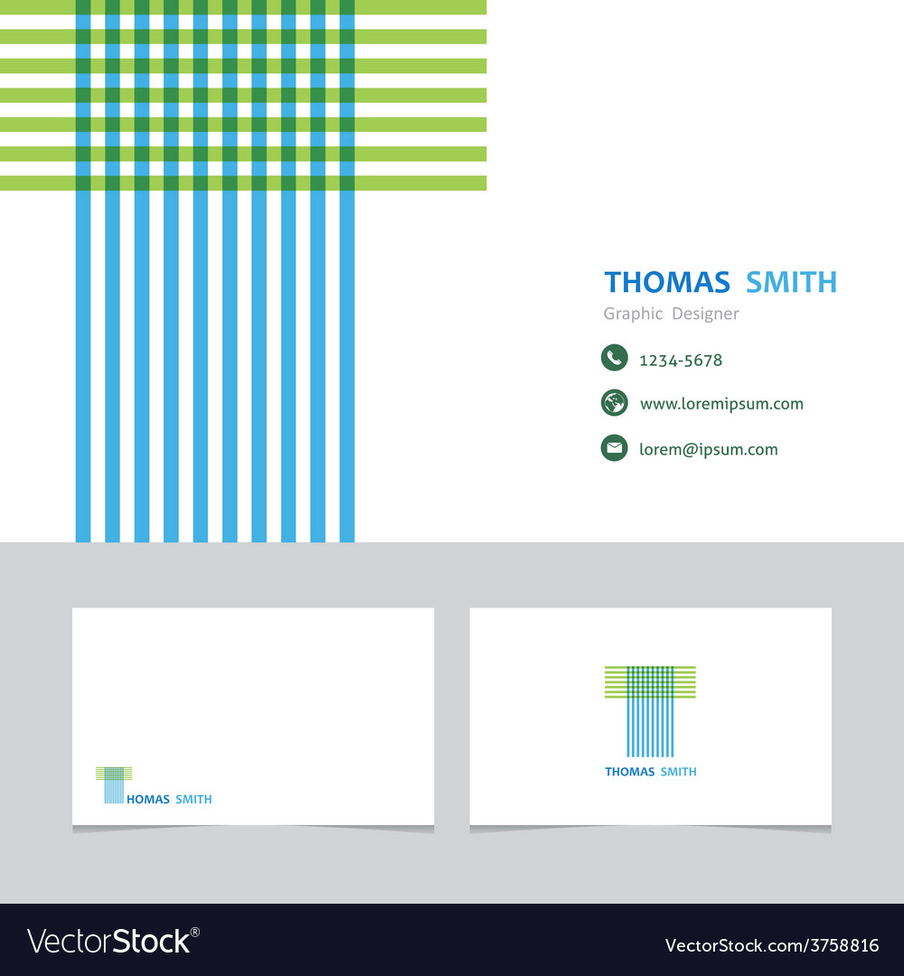 Business card template with a letter t vector
