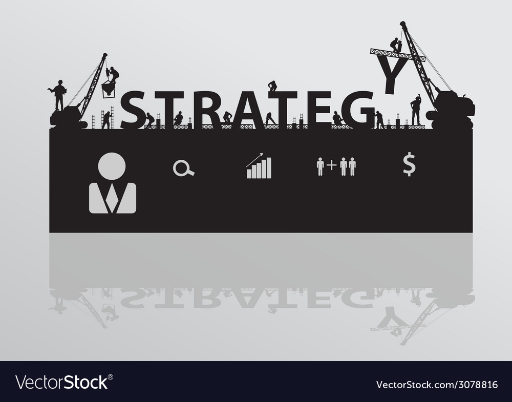 Construction site crane building strategy text vector | Price: 1 Credit (USD $1)
