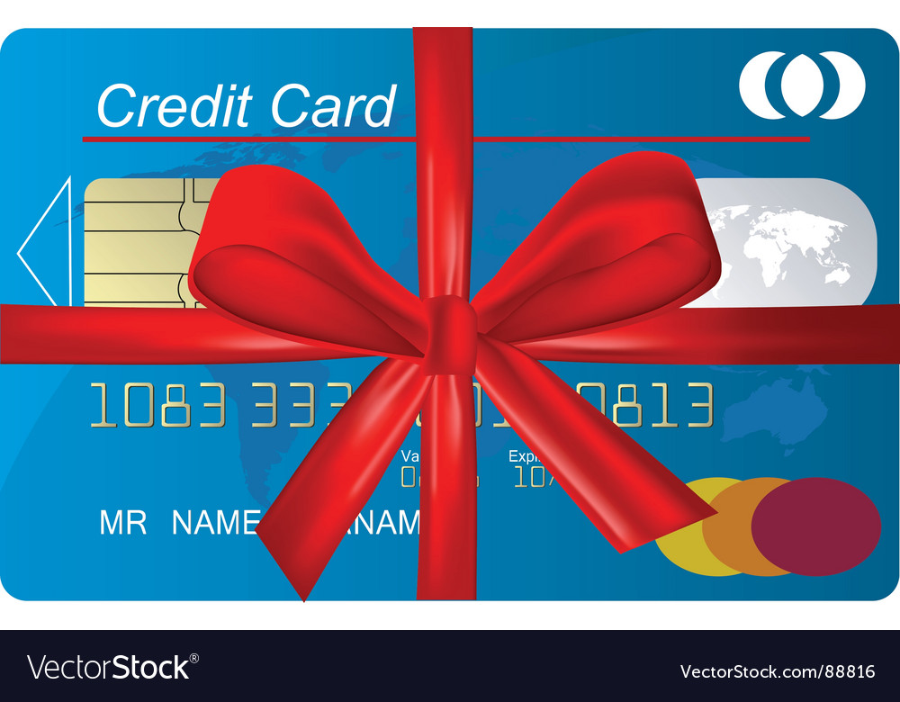 Credit card with red ribbon vector | Price: 1 Credit (USD $1)