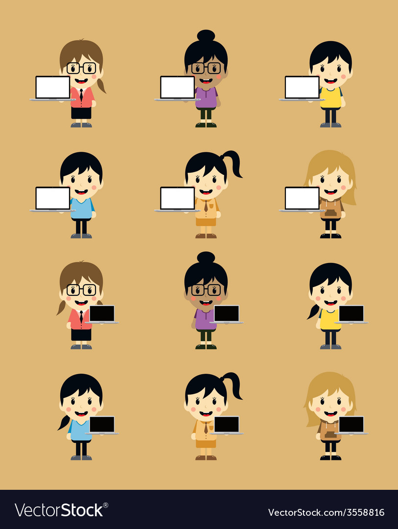 Cute girl with laptop cartoon character set vector | Price: 1 Credit (USD $1)