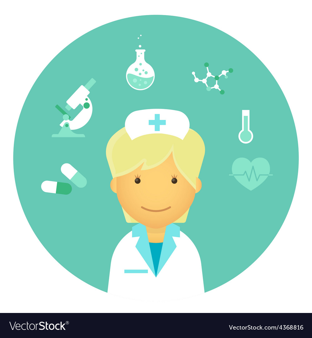 Flat nurse vector | Price: 1 Credit (USD $1)