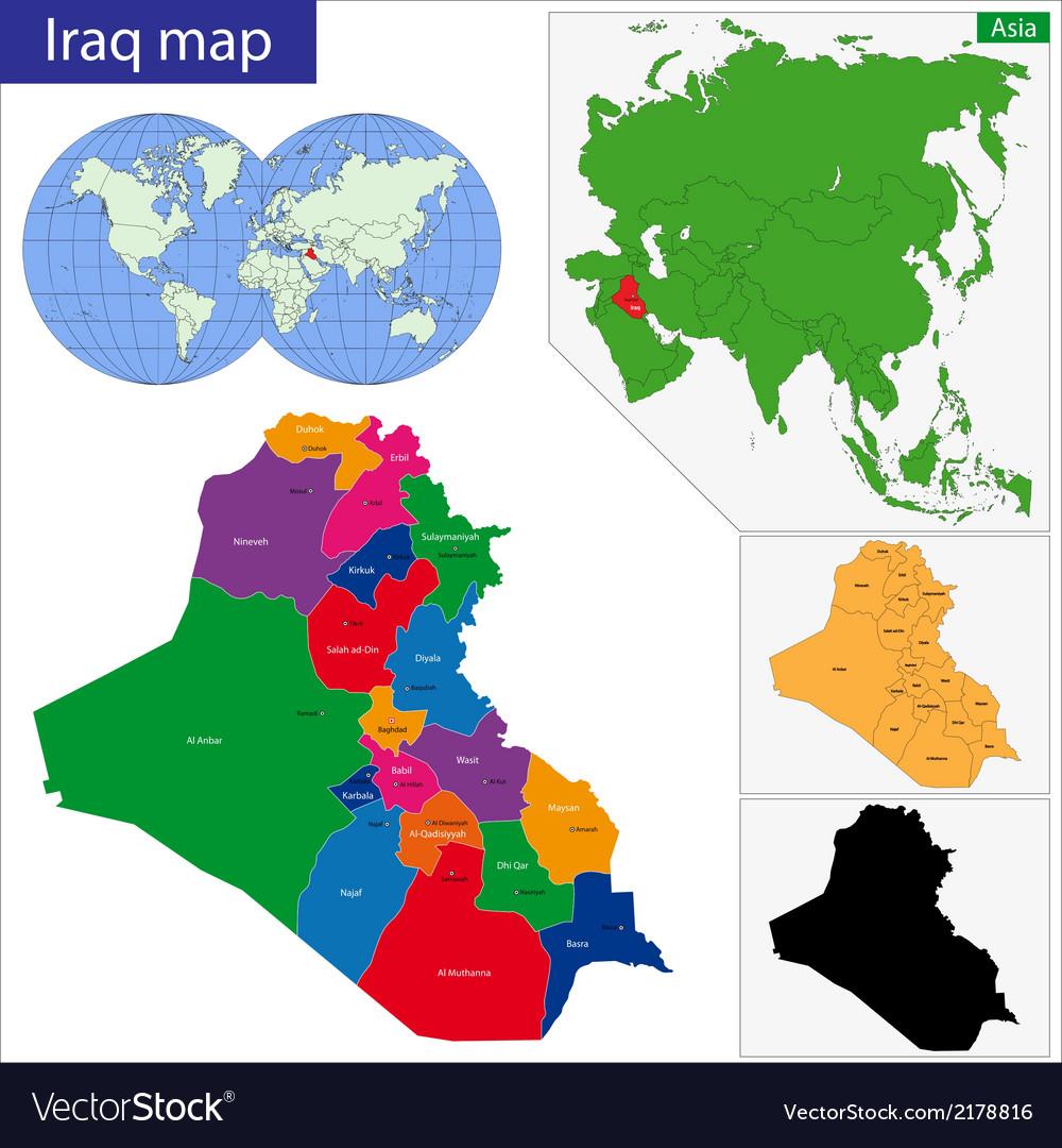 Iraq map vector | Price: 1 Credit (USD $1)