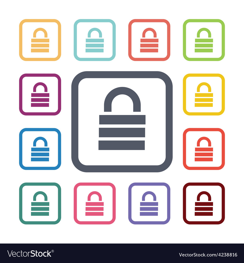 Lock flat icons set vector | Price: 1 Credit (USD $1)