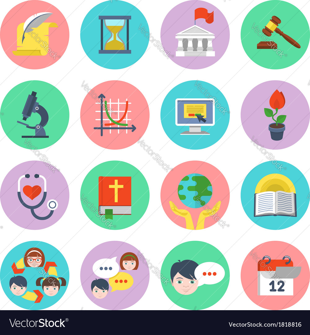 Modern flat school icons set vector | Price: 1 Credit (USD $1)