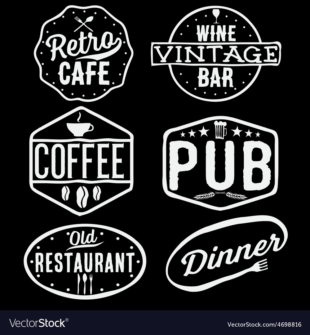 Set of vintage cafe pubwine bar and restaurant vector   Price: 1 Credit (USD $1)