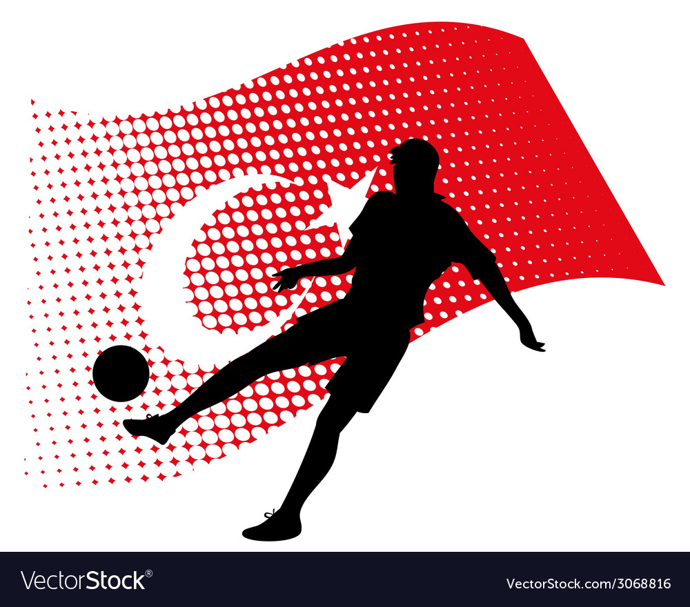 Turkey soccer player against national flag vector | Price: 1 Credit (USD $1)