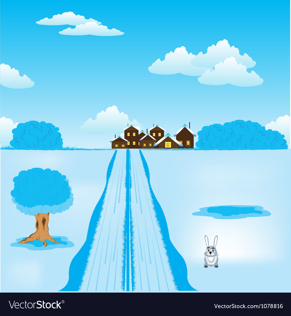 Winter road to settle vector | Price: 1 Credit (USD $1)
