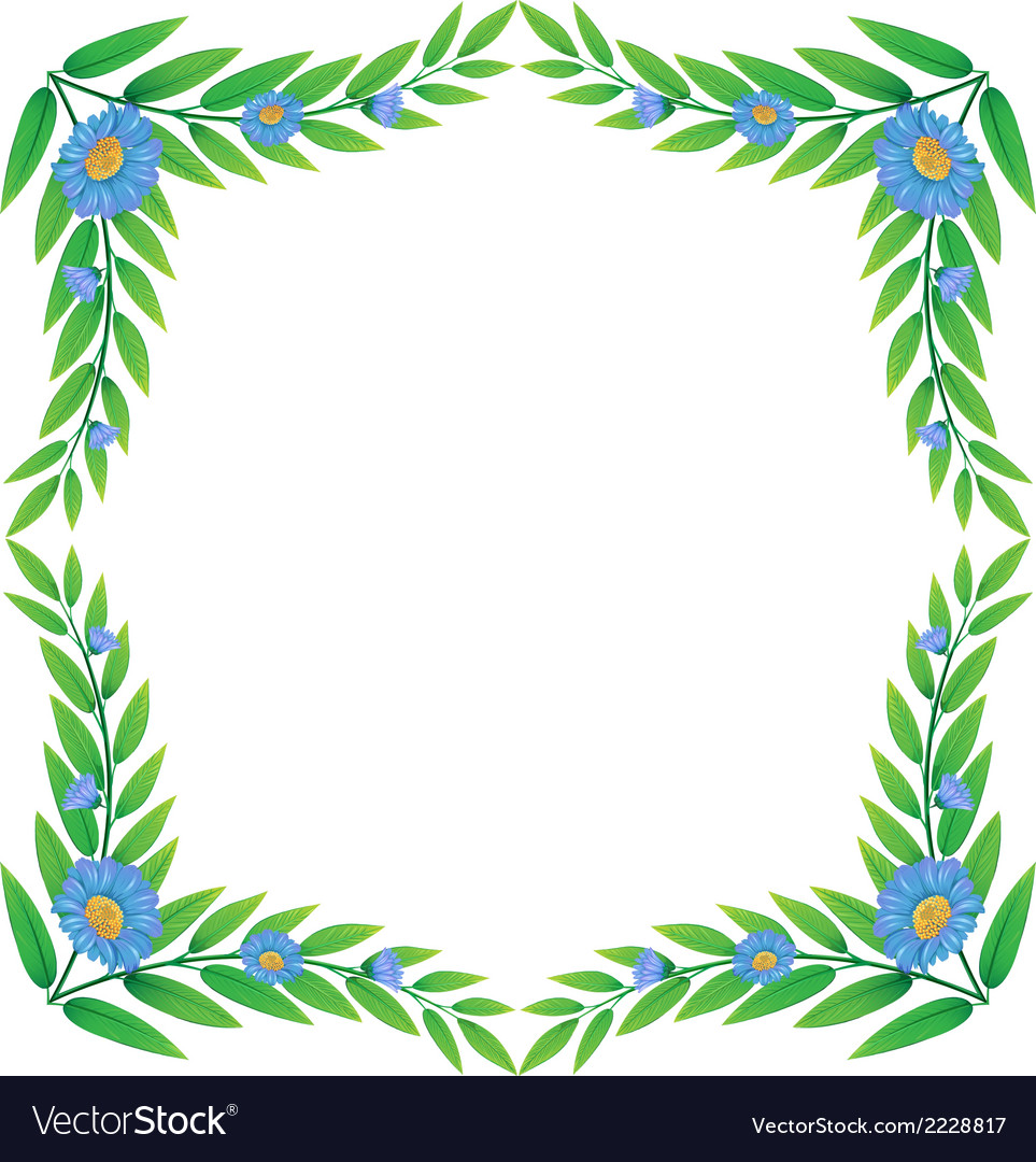 A frame made of green plants with flowers vector | Price: 1 Credit (USD $1)