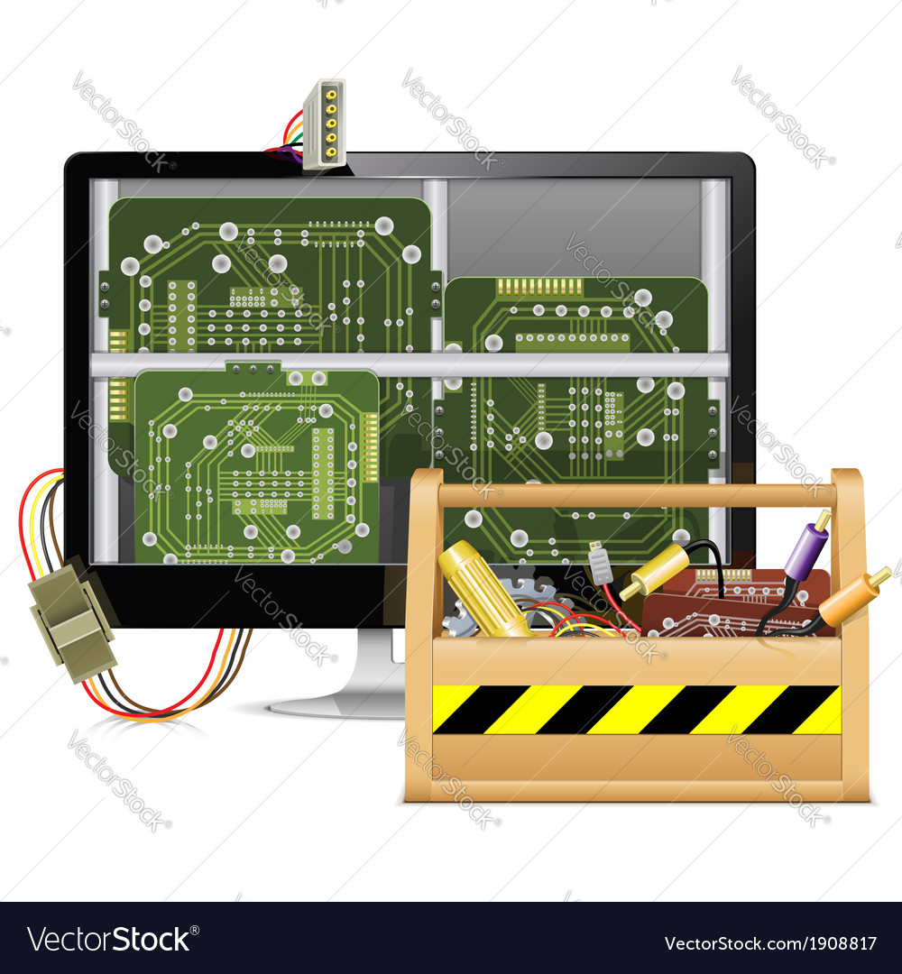 Computer repair with toolbox vector | Price: 3 Credit (USD $3)