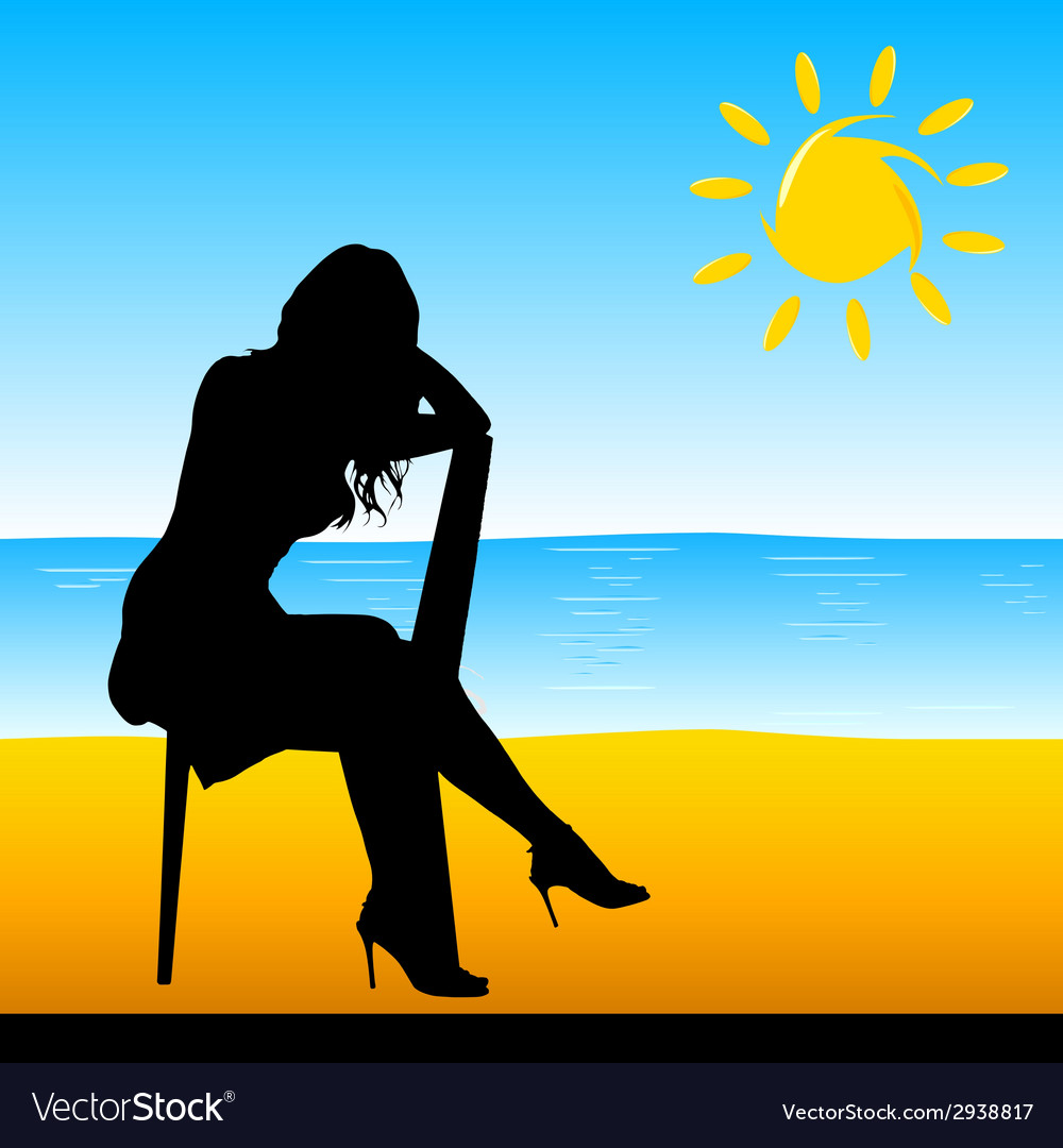 Girl sitting on the chair on the beach vector | Price: 1 Credit (USD $1)