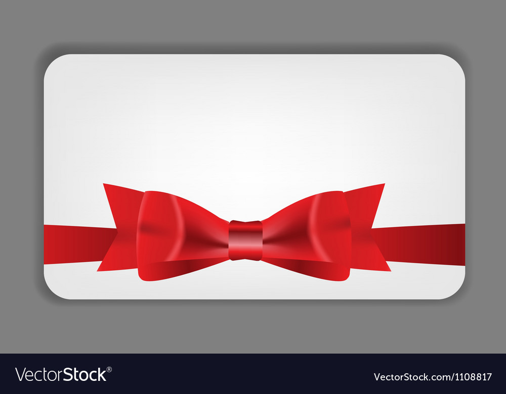 Holiday gift cards with red bow ribbon and place vector   Price: 1 Credit (USD $1)