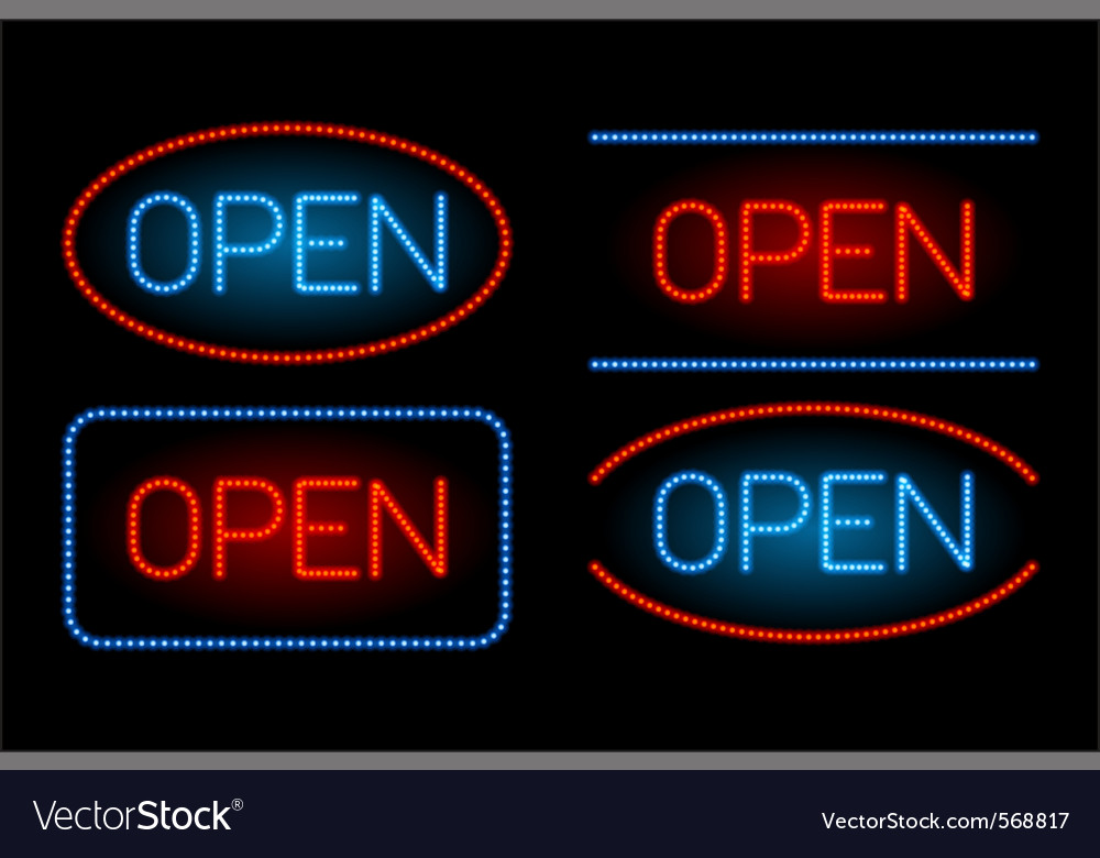 Neon open set vector | Price: 1 Credit (USD $1)